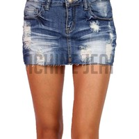 Clasic Washed Denim Skirt, Medium Wash