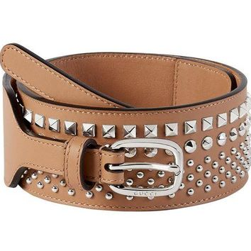 DCCK8X2 Gucci Women's Beige Studded Leather Wide Waist Belt