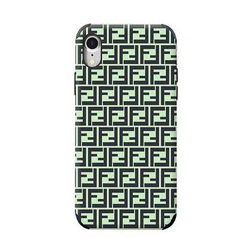 FENDI Newest Fashionable Women Men Full F Letter Mobile Phone Cover Case For iphone 6 6s 6plus 6s-plus 7 7plus 8 8plus X XsMax XR Green