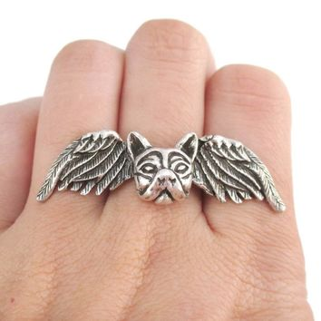 French Bulldog with Angel Wings Shaped Adjustable Ring