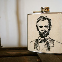 Abe Lincoln 6 oz Flask- Screen print on wood