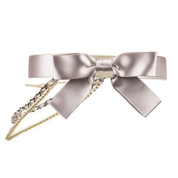 Chanel Pre-Owned: Satin Bow Pearl Chain Belt | Bluefly