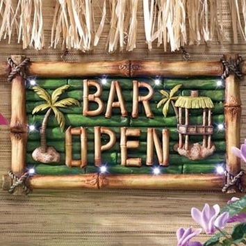 Tiki Bar Sign Lighted Wall Decor Tropical Plaque - Perfect For Party Decorati...