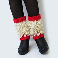 Fringed Boot Cuffs. Boot Topper. Woman's Boot Cuffs. Boot Warmer. Fashion Accessory. Woman's Boot Toppers. Boot Socks. Red Cream Cuffs Gifts