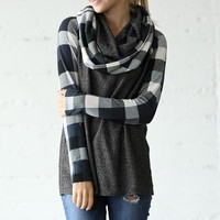 Cowl Neck Plaid Top - Charcoal