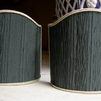 Pair of Clip-On Shield Shades Rubelli Black Pleated Taffetas Mini Lampshade - Handmade in Italy
