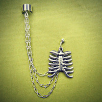 ribcage ear cuff and earring