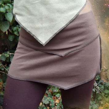 Scorpius Skirt: Recycled/ Upcycled cotton mini skirt. Asymmetrical festival pixie skirt. Black, blue, brown, green, turquoise, grey, bone.