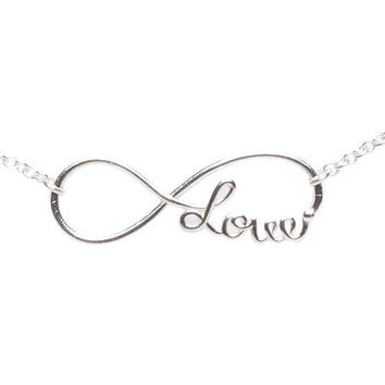 Sterling Silver Infinity Love Necklace