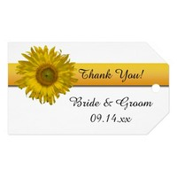 Yellow Sunflower Stripe Wedding Favor Tags