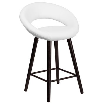 Kelsey Series 24'' High Contemporary Vinyl Counter Height Stool with Cappuccino Wood Frame