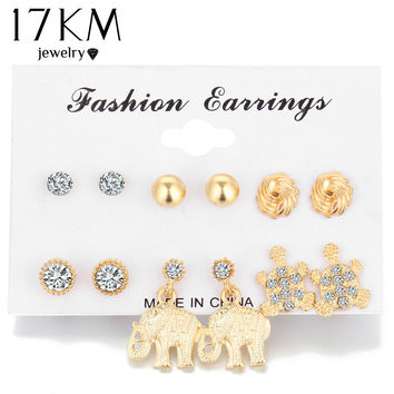 17KM 6 Pair Set Crystal Elephant Fashion Stud Earrings Set Gold Color Earrings For Women Vintage Jewelry Piercing Brincos