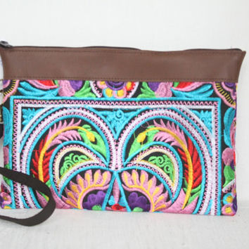 Hill Tribe Clutch Wristlet HMONG Cosmetic Bag Leather Strap Fair Trade Thailand (BG282AW-MUB)