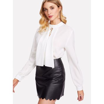 Pearl Detail Button Keyhole Back Blouse White