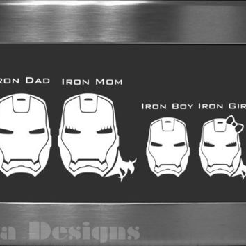 Your choice of 4 Iron Man / War Machine inspired Family decals / Please READ description for ordering instructions - Car decal