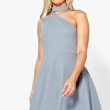 Plus Rosie Choker One Shoulder Skater Dress | Boohoo