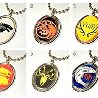 Game of Thrones: assorted house sigil pendant necklaces (for men/him)