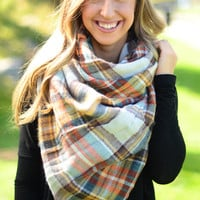 Plaid Blanket Scarf - Mustard
