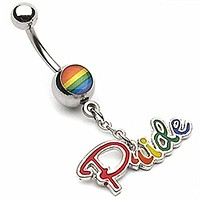 Gay Pride Epoxy with PRIDE Dangle WildKlass Navel Ring (Sold by Piece)