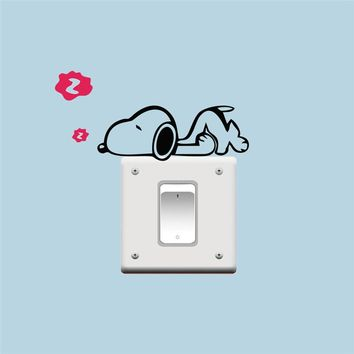 DIY Funny Sleeping Cat Dog Switch Stickers Vinyl Wall Sticker Decals Home Parlor Decoration Kids Bedroom Nursery Decor Poster