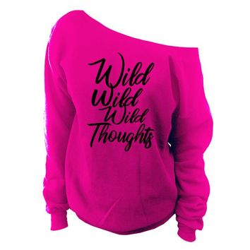 Wild Wild Wild Thoughts Off-The-Shoulder Over-sized Slouchy Sweatshirt