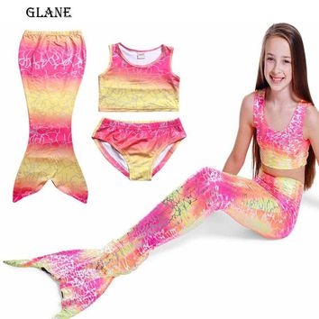 4-8T Kids Girls Mermaid Tail Swimmable Bikini Set Swimwear Swimsuit Swimming Clothes Children Clothes Set