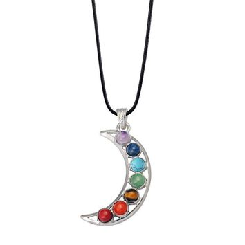 7 chakra stone beaded moon Turquoise Necklaces