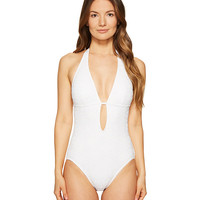 Kate Spade New York Half Moon Bay #58 Halter Plunge One-Piece Swimsuit w/ Removable Soft Cups