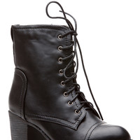Black Faux Leather Autumn Essentials Chunky  Lace Up Boots
