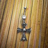 Rustic Cross Belly Button Ring