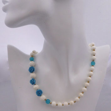 White Jewelry Blue Flower Necklace White Coral Blue Coral Rose Turquoise Opal Gift4Her Wedding Bridesmaids Gift Mother of the Bride Gift