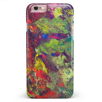 Green and Red Wet Oil Paint Canvas iPhone 6/6s or 6/6s Plus INK-Fuzed Case