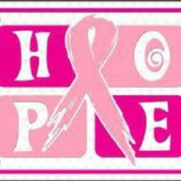 HOPE Pink Ribbon Cancer Awareness Car Truck License Plate Tag