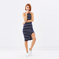 Sleeveless Stripes Midi Skirt With Slit