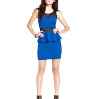 Material Girl Juniors' Mesh-Panel Peplum Dress - Dresses - Juniors - Macy's