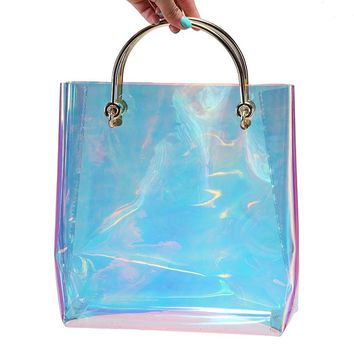 2017 Summer Hologram Women Bags Handbags Women Famous Brands Metal Handle Tote Bag Transprent Open Shopper Bag Beach Bag