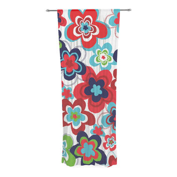 "Jolene Heckman ""A Cheerful Morning"" Blue Red Decorative Sheer Curtain"