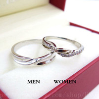 2pcs Free Engraving Platinum promise rings, Wedding Couple Rings, infinity ring, his and her promise ring set, wedding rings, Valentine day