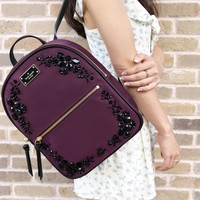 Kate Spade Wilson Road Embellished Small Bradley Backpack Deep Plum Black Stone