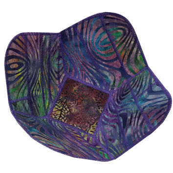 Reversible Fabric Bowl in Purple Batik Fabrics
