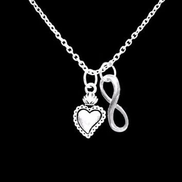 Sacred Heart Valentine Gift Love Wife Girlfriend Mom Infinity Necklace