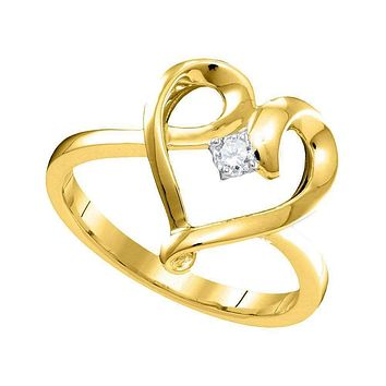 10kt Yellow Gold Women's Round Diamond Heart Love Promise Bridal Ring 1/20 Cttw - FREE Shipping (US/CAN)