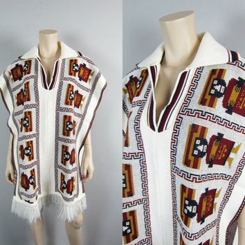 Vintage Tribal Fringe Cape Vest Poncho Boho Sweater Knit Cape Ethnic Hippie Jacket Indian Aztec