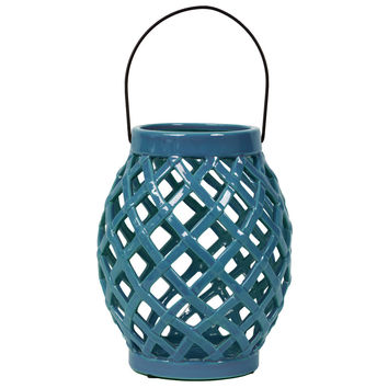 Skillfully Crafted Open Crisscrossed Design Ceramic Lantern In Turquoise