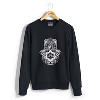 Hamsa Design or protection symbol printed on Crew neck Sweatshirt
