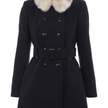 Petites Navy Faux Fur Collar Coat - Coats & Jackets - Clothing - Miss Selfridge