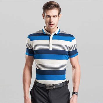 Summer Men Short Sleeve Casual Stripes Knit T-shirts [6544028547]