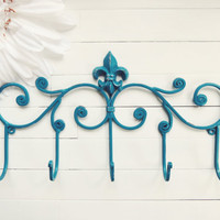 Fleur De Lis Decor / Metal Wall Hanger / Wall Hook / Teal Home Decor / Towel Rack / Coat Hook / Shabby Chic / French Country