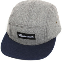Motivation 5-Panel Camp Hat Charcoal Melton Wool / Navy Duck Canvas