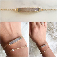 14K Gold Filled Druzy Bar Bracelet